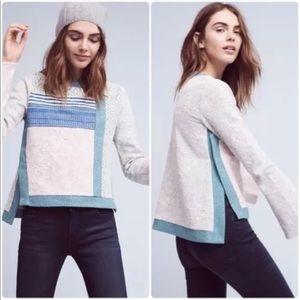 Anthropologie Postmark Sz XL Patchwork Sweater